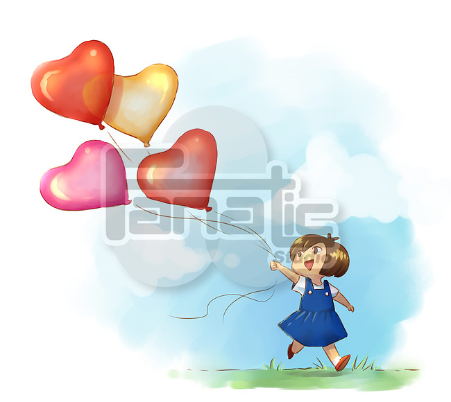 Illustrative image of girl playing with helium balloons at park
