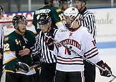 Mike Reich (St. Thomas - 22), Steve Quailer (NU - 10) - The Northeastern University Huskies defeated the St. Thomas Tommies 7-5 in their exhibition match on Saturday, October 3, 2009, at Matthews Arena in Boston, Massachusetts.
