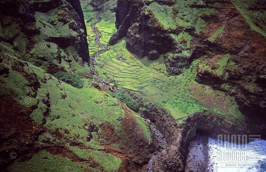 Nualolo Aina Valley, Na Pali Coast State Park, west Kauai, aerial photo. Ancient taro patch stone walls visible.