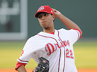 April 17, 2008: LHP Felix Doubront (22) of the Greenville Drive, Class A affiliate of the Boston Red Sox, in a game against the Greensboro Grasshoppers at Fluor Field at the West End in Greenville, S.C. Photo by:  Tom Priddy/Four Seam Images