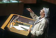 UN, New York, November, 13th, 1974. <br /> Yasser Arafat the leader of PLO speaking at the UN General Assembly. The war of October 1973 altered perceptions of the PLO, afterwards being recognized by Arabic countries as &quot;the sole legitimate spokesman of the Palestinian people&quot;, and by having links with Moscow strengthened. Arafat helped international relations by coming to UN headquarters to speak, the first by a non-governmental organization.