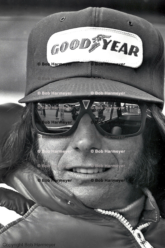 BOWMANVILLE, ON - SEPTEMBER 22, 1974: Brazilian driver Emerson Fittipaldi looks on before the 1974 Canadian Grand Prix on September 22, 1974, at Mosport International Raceway near Bowmanville, Ontario, Canada.