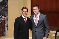 From left to right DC United forward Josh Wolff with midfielder Santino Quaranta, at the 2011 Season Kick off Luncheon, at the Marriott Hotel in Washington DC, Wednesday March 16 2011.