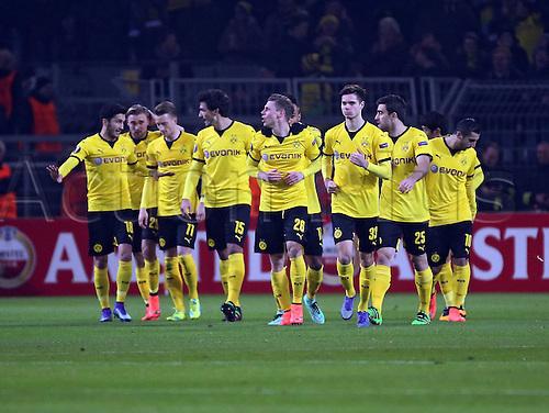 18.02.2016. Dortmund, Germany.  UEFA Europa League match at the Signal Iduna Park. Borussia Dortmund versus FC Porto.  Lukasz Piszczek (Borussia Dortmund) celebrates his goal