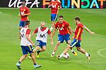 Koke Ressurecion, Andres Iniesta, Sergio Busquets and Saul Niguez during Spain training session at Santiago Bernabeu Stadium in Madrid, Spain September 01, 2017. (ALTERPHOTOS/Borja B.Hojas)