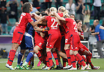 Olympique Lyonnais's players celebrate the victory in the UEFA Women's Champions League 2015/2016 Final match.May 26,2016. (ALTERPHOTOS/Acero)