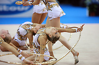 (Center) Fabrizia D'Ottavio of Italian group performs during hoops+clubs event final at 2008 European Championships at Torino, Italy on June 7, 2008.  Photo by Tom Theobald.
