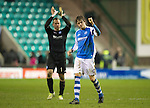 Hibs v St Johnstone.....11.02.13      SPL.Murray Davidson celebrates st full time.Picture by Graeme Hart..Copyright Perthshire Picture Agency.Tel: 01738 623350  Mobile: 07990 594431