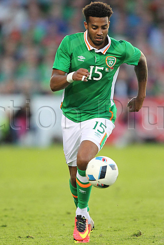 31.05.2016, Turners Cross Stadium, Cork, Ireland. International football friendly between republic of ireland and Belarus.  Cyrus Christie of Republic of Ireland charges upfield