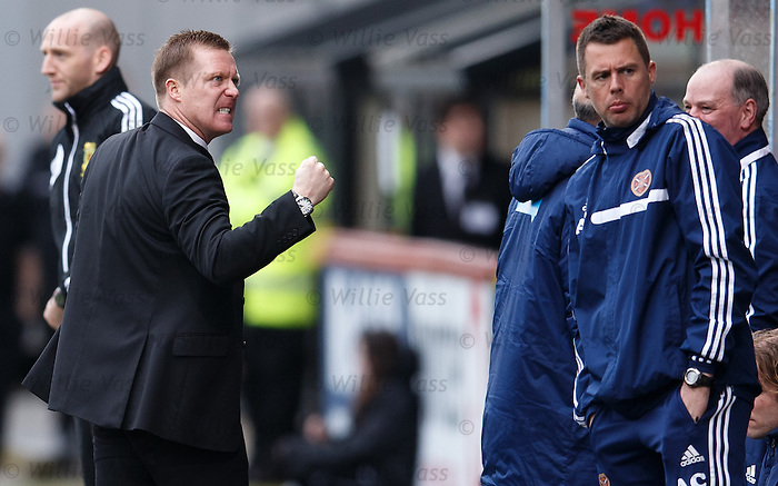 Hearts manager Gary Locke during the match