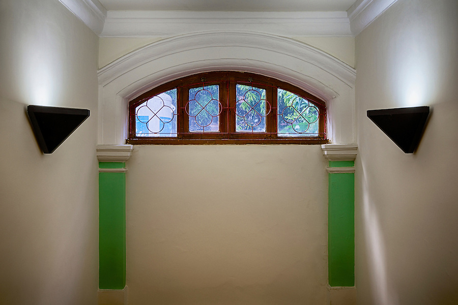 Window above the staircase.