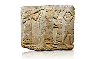 Hittite monumental relief sculpted orthostat stone panel of Procession. Limestone, Karkamıs, (Kargamıs), Carchemish (Karkemish), 900-700 B.C. Anatolian Civilisations Museum, Ankara, Turkey.<br /> <br /> Musicians. Two musicians with short arms, wearing long dresses and wide belts; one plays a Saz (a stringed musical instrument) with tassels on the handle while the other plays the flute. The third small figure holds castanets (?) in his hands. The figure on the right wears a short skirt, contrary to the others. She dances over her finger tips with her hands over her head.  <br /> <br /> Against a white background.