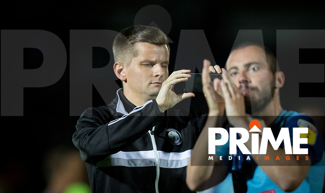 Wycombe media Tom Jarvis during the Carabao Cup match between Wycombe Wanderers and Northampton Town at Adams Park, High Wycombe, England on 14 August 2018. Photo by Andy Rowland.