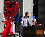 The Alliance Francaise de Sacramento held a vigil for the Nice massacre victims at the California State Capitol on Monday, July 18, 2016.  The Sacramento French Honorary Consul Guy Michelier spoke to the crowd, asked for a moment of silence, followed by singing La Marseillaise the national anthem of France.  The vigil was held for the victims of the Bastille Day, July 14, 2016, attack in France.  Photo/Victoria Sheridan
