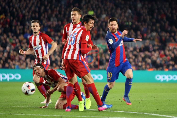 Copa del Rey 2016/2017 - Semifinal vuelta.<br /> FC Barcelona vs Atletico Madrid: 1-1.<br /> Saul, Filipe Luis, Lucas, Savic &amp; Lionel Messi.