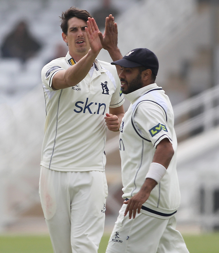 Warwickshire's Chris Wright celebrstes taking the wicket of Nottinghamshire's Luke Fletcher with Jeetan Patel <br /> <br /> Photographer Mick Walker/CameraSport<br /> <br /> County Cricket - Liverpool Victoria County Championship - Division One - Nottinghamshire v Warwickshire - Day 3 - Tuesday 29th April 2014 - Trent Bridge - Nottingham<br /> <br /> &copy; CameraSport - 43 Linden Ave. Countesthorpe. Leicester. England. LE8 5PG - Tel: +44 (0) 116 277 4147 - admin@camerasport.com - www.camerasport.com