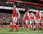 Arsenal's Granit Xhaka celebrates his sides opening goal during the Premier League match at the Emirates Stadium, London. Picture date November 6th, 2016 Pic David Klein/Sportimage
