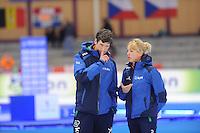 SCHAATSEN: BERLIJN: Sportforum Berlin, 07-12-2014, ISU World Cup, Gianni Romme en Marianne Timmer (trainers/coaches Team Continu), ©foto Martin de Jong