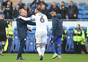 30th September 2017, Cardiff City Stadium, Cardiff, Wales; EFL Championship football, Cardiff City versus Derby County; Neil Warnock, Manager of Cardiff City shares a joke with Richard Keogh of Derby County at the end of the game