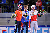 "SHORT TRACK: MOSCOW: Speed Skating Centre ""Krylatskoe"", 14-03-2015, ISU World Short Track Speed Skating Championships 2015, Podium Men 1500m, Sjinkie KNEGT (NED), Semen ELISTRATOV (RUS), Charles HAMELIN (CAN), ©photo Martin de Jong"