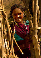 The women of the Kalbelia tribe are herderrs of goat and donkey flocks. Rajasthan, India