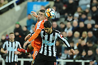 Oliver Lee of Luton Town battles with Ayoze Perez of Newcastle United during Newcastle United vs Luton Town, Emirates FA Cup Football at St. James' Park on 6th January 2018