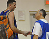 Bobby Fanning, 52, of Huntington Station, right, shakes hands with Zack Valliere after the two played in a Long Island Nets open tryout at LIU Post's Pratt Center in Brookville, NY on Saturday, Sept. 30, 2017.