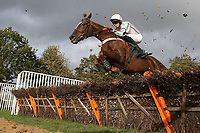 Reve De Nuit ridden by Conor O'Farrell in jumping action during the Kettle Chips Handicap Hurdle