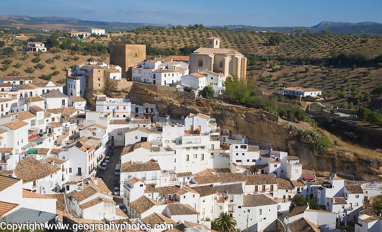 Pueblos Blancos whitewashed buildings Setenil de las Bodegas, Cadiz province, Spain