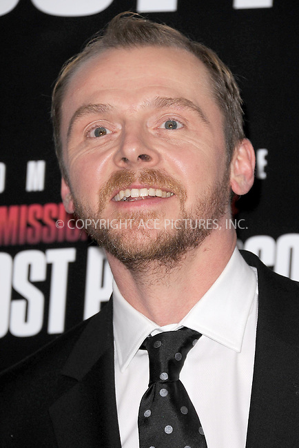 WWW.ACEPIXS.COM . . . . . December 19, 2011...New York City....Simon Pegg attends the 'Mission: Impossible - Ghost Protocol' U.S. premiere at the Ziegfeld Theatre on December 19, 2011 in New York City....Please byline: KRISTIN CALLAHAN - ACEPIXS.COM.. . . . . . ..Ace Pictures, Inc: ..tel: (212) 243 8787 or (646) 769 0430..e-mail: info@acepixs.com..web: http://www.acepixs.com .