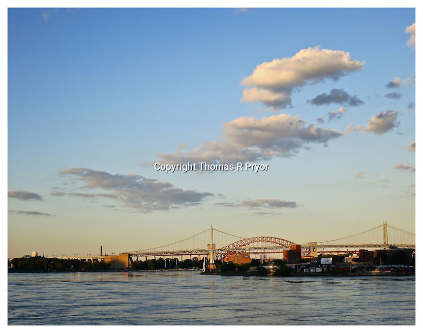 NEW YORK, NY - AUGUST 29: View from Carl Schurz Park of Triboro bridge in Yorkville, New York on August 29, 2012. Photo Credit: Thomas R Pryor