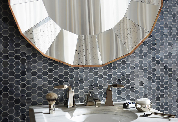 3 cm Hex shown in Greystoke polished, is part of The Studio Line of Ready to Ship mosaics.<br />