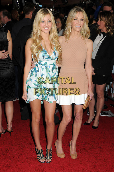 "Ava Sambora, Heather Locklear.Attending the ""Scary Movie 5"" Los Angeles film premiere held at the Cinerama Dome,  Hollywood, California, USA, .11th April 2013..full length dress clutch bag sleeveless nude matching beige brown tan purse hands ring hand mom mother daughter family white blue print trim .©Byron Purvis/AdMedia/Capital Pictures"