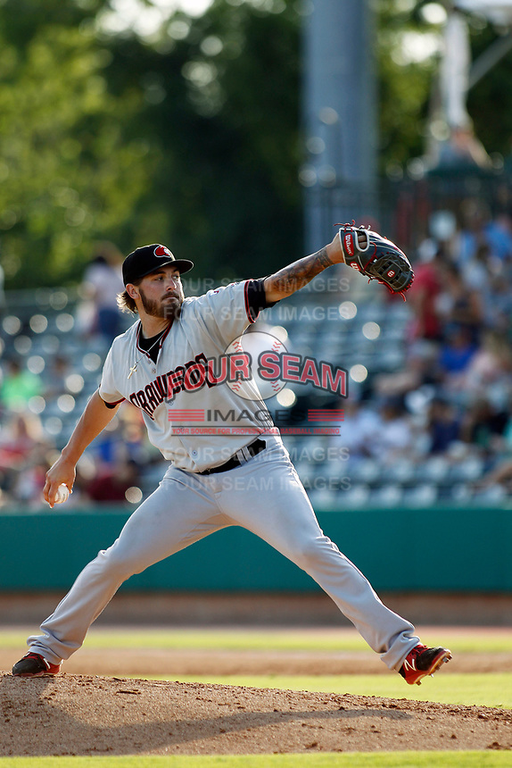 Hickory Crawdads pitcher Joe Barlow (18) on the mound during a game against the Charleston Riverdogs at the Joseph P. Riley Ballpark in Charleston, South Carolina.  Hickory defeated Charleston 8-7. (Robert Gurganus/Four Seam Images)