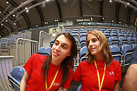 (L-R) Filipa Fernandez and Laura Lima of Portugal smile during trainings before 2007 Portimao World Cup of Rhythmic Gymnastics on April 24, 2006. Filipa and Laura are previous national team members from Portugal and are volunteers at 2007 Portimao. (Photo by Tom Theobald)
