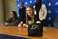 NWA Democrat-Gazette/FLIP PUTTHOFF<br />Skylurr Patrick smiles Wednesday Feb. 7 2018 during her signing ceremony Wednesday at Rogers High School. Patrick will play soccer at Purdue University.