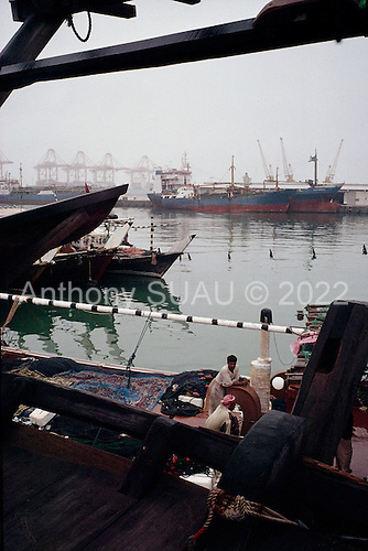 Salalah, Oman.July 2001..Fishermen in the port.