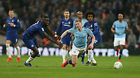 Manchester City's Kevin De Bruyne is challenged by Chelsea's Antonio Rudiger<br /> <br /> Photographer Rob Newell/CameraSport<br /> <br /> The Carabao Cup Final - Chelsea v Manchester City - Sunday 24th February 2019 - Wembley Stadium - London<br />  <br /> World Copyright © 2018 CameraSport. All rights reserved. 43 Linden Ave. Countesthorpe. Leicester. England. LE8 5PG - Tel: +44 (0) 116 277 4147 - admin@camerasport.com - www.camerasport.com