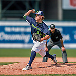 4 September 2017: Vermont Lake Monsters pitcher Heath Donica on the mound during the first game against the Tri-City ValleyCats at Centennial Field in Burlington, Vermont. The Lake Monsters split their games, falling 6-5 in the first, then winning the second 7-4, thus clinching the NY Penn League Stedler Division Championship. Mandatory Credit: Ed Wolfstein Photo *** RAW (NEF) Image File Available ***