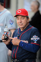 Hall of Fame catcher Johnny Bench #5 poses with his bottle of Pepsi Max in the dugout during the MLB Pepsi Max Field of Dreams game on May 18, 2013 at Frontier Field in Rochester, New York.  (Mike Janes/Four Seam Images)