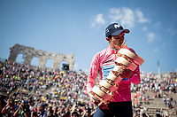 Richard Carapaz (ECU/Movistar) is celebrated in the Verona amphitheater after winning the 102nd Giro d'Italia making him the proud owner of the Trofeo Senza Fine<br /> <br /> Stage 21 (ITT): Verona to Verona (17km)<br /> 102nd Giro d'Italia 2019<br /> <br /> ©kramon