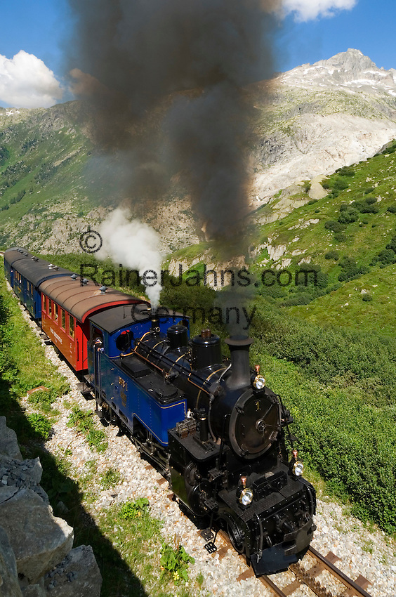 Switzerland, Canton Valais, Furka Pass Road, Furka steam train between Realp-Furka-Gletsch