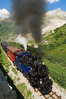 Switzerland, Canton Valais, Furka Pass Road, Furka steam train between Realp-Furka-Gletsch