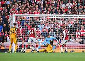 1st October 2017, Emirates Stadium, London, England; EPL Premier League Football, Arsenal versus Brighton; Aaron Ramsey of Arsenal sees his shot saved by Brighton Goalkeeper Mathew Ryan