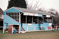 The main stand at Brantham Athletic FC Football Ground, Brantham Athletic & Social Club, New Village, Brantham, Suffolk, pictured on 2nd February 1991