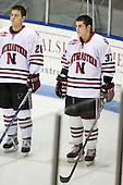 Mike Hewkin (Northeastern - 28), Rob Rassey (Northeastern - 37) - The Northeastern University Huskies defeated the Boston College Eagles 2-1 OT in the NU senior night game on Friday, March 6, 2009 at Matthews Arena in Boston, Massachusetts.