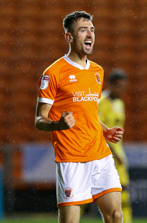 Blackpool's Ryan Hardie celebrates scoring his side's third goal <br /> <br /> Photographer Alex Dodd/CameraSport<br /> <br /> EFL Leasing.com Trophy - Northern Section - Group G - Blackpool v Morecambe - Tuesday 3rd September 2019 - Bloomfield Road - Blackpool<br />  <br /> World Copyright © 2018 CameraSport. All rights reserved. 43 Linden Ave. Countesthorpe. Leicester. England. LE8 5PG - Tel: +44 (0) 116 277 4147 - admin@camerasport.com - www.camerasport.com