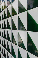 The black and white ceramic tiles used to clad the facade of the house have a hint of green