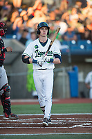 Hillsboro Hops left fielder Kevin Watson Jr (27) steps into the batter's box during a Northwest League game against the Salem-Keizer Volcanoes at Ron Tonkin Field on September 1, 2018 in Hillsboro, Oregon. The Salem-Keizer Volcanoes defeated the Hillsboro Hops by a score of 3-1. (Zachary Lucy/Four Seam Images)