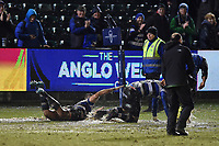 Bath Rugby players go for a swim after the final whistle. Anglo-Welsh Cup Semi Final, between Bath Rugby and Northampton Saints on March 9, 2018 at the Recreation Ground in Bath, England. Photo by: Patrick Khachfe / Onside Images